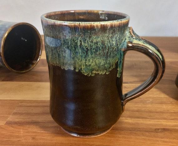 Handmade pottery mug, coffee or tea, hot or cold beverage cup, large 12oz drink mug, wheelthrown art drip glaze pottery, coffee lovers gift