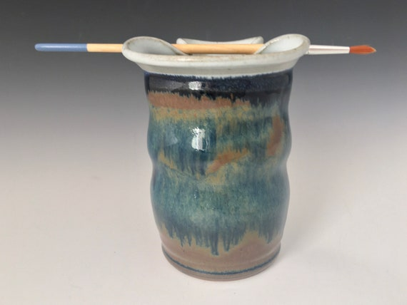 Painters paintbrush cup, ceramic brush rest rimmed paint water brush rinse jar, artist brush pot, handmade pottery, artist brush rinse jar