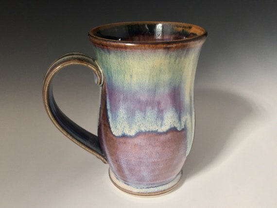 Handmade Pottery Mug, coffee lovers favorite mug, gift for her, gift for him, high fired stoneware, drip melt rutile glaze, hot or cold