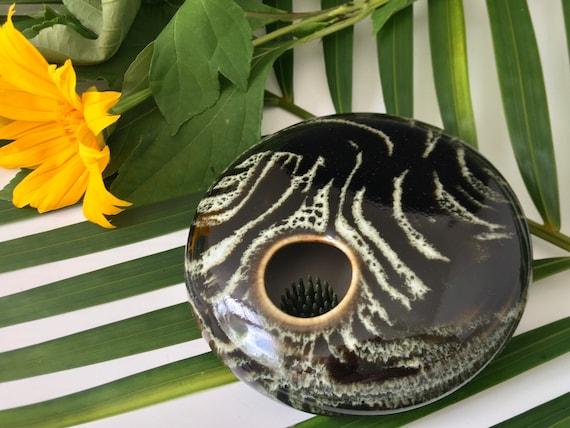 Porcelain Ikebana Flower vase, enclosed bowl with permanently fixed pin frog, Kenzan vase, handmade flower arranging pottery