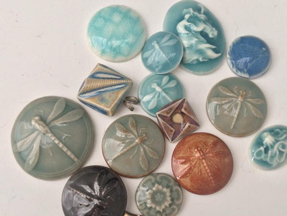 Clay cabochons, Pottery buttons, jewelry making, mosaic art and craft supplies, high fired porcelain assortment.