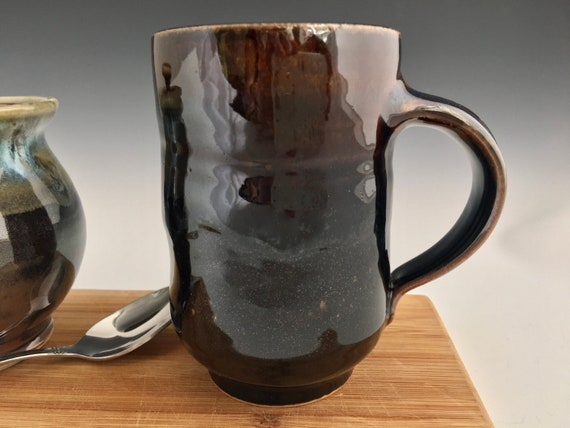 Handmade Pottery Mug, cup, coffee mug, stoneware hot or cold beverage cup, ceramic drink mug, wheelthrown art melt glaze