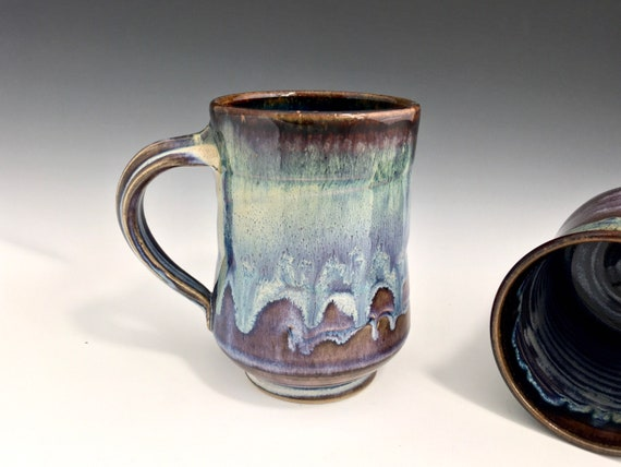 Handmade Pottery ceramic Mug, coffee lovers favorite mug, gift for her, gift for him, high fired porcelain stoneware, drip melt rutile glaze