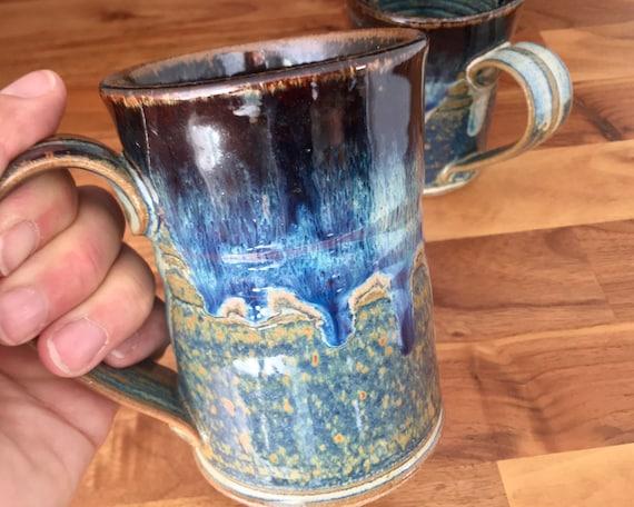 Mug, Handmade Pottery, coffee lovers favorite mug, porcelain, art melt drip glaze, coffee mug, tea cup use for hot or cold