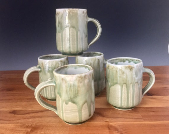 Handmade Pottery Mug, coffee lovers favorite mug, high fired porcelain, green art melt glaze, coffee mug, tea cup use for hot or cold