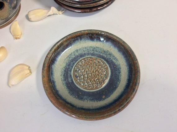 Garlic Grater Plate,  Gourmet Ceramic Garlic or Ginger Mincing Dish.
