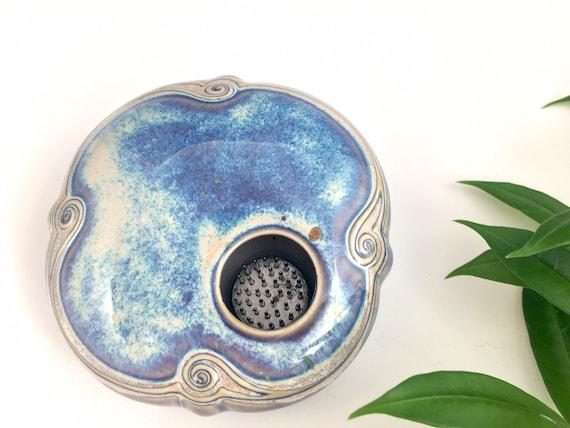 Ikebana Flower vase, with flower frog, permanently fixed pin frog, Kenzan vase, flower arranging vase, with carved border, handmade pottery