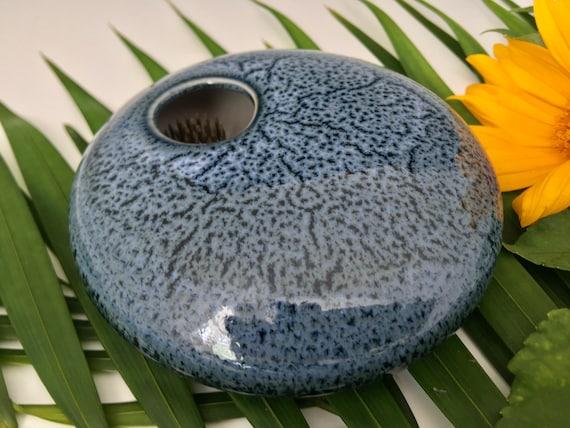 Ikebana Flower vase, porcelain vase with flower frog, permanently fixed pin frog, Kenzan vase, flower arranging vase, handmade pottery
