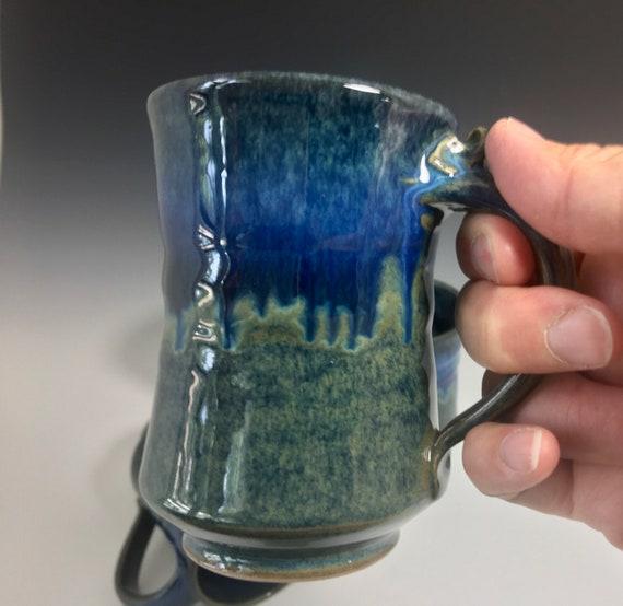 Handmade Pottery Mug, coffee lovers favorite mug, high fired porcelain, blue green art melt glaze, coffee mug, tea cup use for hot or cold