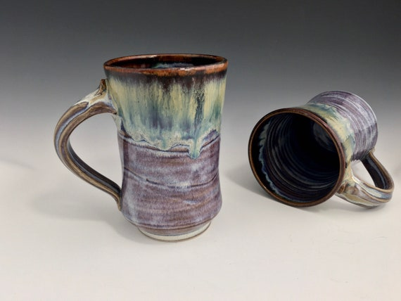 Handmade Pottery Mug, ceramic coffee lovers favorite cup, gift for her, gift for him, high fired porcelain stoneware, drip melt rutile glaze