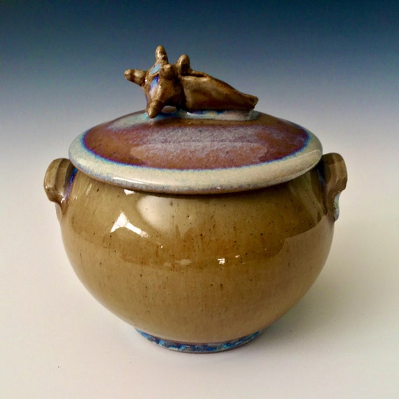 Sea Shell Sugar Bowl, lidded condiment server, Stoneware covered crock, rutile melt glaze, one of a kind handmade pottery storage stash jar