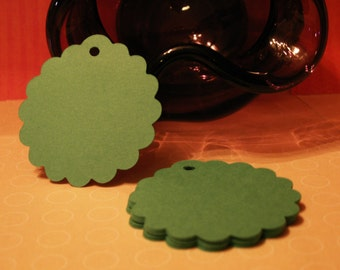 24 scalloped 2 inch circle tags for gifts, favor bags, cards, scrapbooking etc.