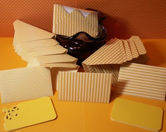 16 yellow stripe mini note cards for weddings, bridal showers,birthdays, baby showers