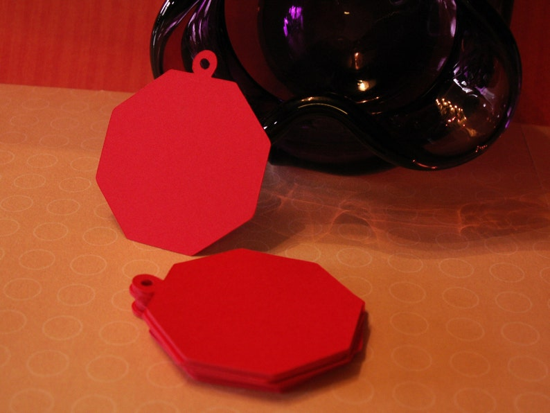 24 2 inch octagon tags for gifts embellishments etc. party favors cards scrapbooking