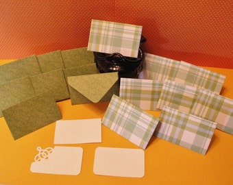 16 green plaid mini note cards for birthdays, baby showers, bridal showers, weddings