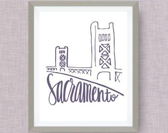 Sacramento Art Print - Tower Bridge hand drawn, hand lettered, Option of Real Gold Foil