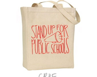 stand up for public schools canvas tote - red for ed