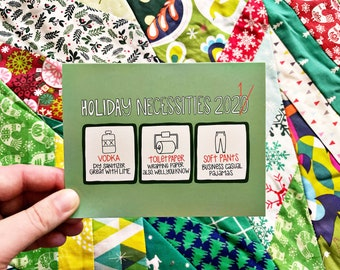 Holiday Necessities 2021 - Holiday Card Set, Funny Christmas Cards 2021 Christmas, Snarky Cards - CR2F