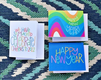 New Years Card Set - Happy New Year, 2022, Auld Lang Syne,  Holiday Card Set, Happy - CR2F