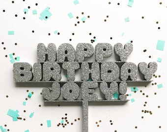 Custom Happy Birthday Laser Cut Cake Topper - Super Kawaii Cute