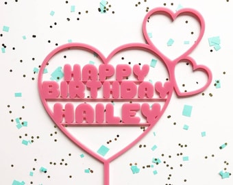 Custom Hearts Happy Birthday Laser Cut Cake Topper - Super Kawaii Cute - Great for Kid First Birthday