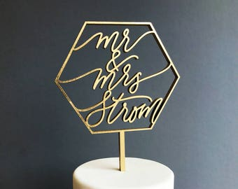 Custom Mr & Mrs Geometric Laser Cut Gold Modern Wedding Cake Topper - hand drawn and made of wood
