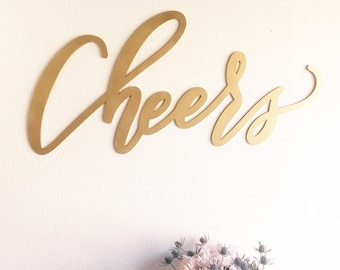 "Cheers Sign - Letterstou Backdrop Wedding Sign - Bar Sign - Beer Wine Bar - Laser Cut Wood 37"" Wide x 18"" tall - Shipped anywhere in USA"