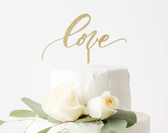 love Wedding Cake Topper - Hand Lettered - Letters To You - Laser Cut - Made of Wood or Acrylic
