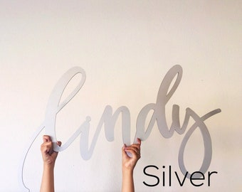 "Custom Laser Cut Wood Name Sign - Letterstou Hand Lettered 1st Birthday Backdrop Korean Dol Silver - Nursery Sign - 36"" Wide - Ships FAST"