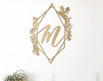 Custom Wedding Sign - Letterstou Diamond Floral Crest with Initial - Monogram - Laser Cut  Crest Sign - Laser Cut - Hand Drawn Backdrop Sign