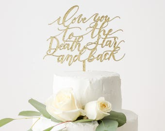 STAR WARS Cake Topper - I love you to the Death Star and back - Wedding Cake Topper - Laser Cut - Made From Wood or Acrylic