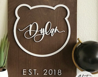 Custom Letterstou Nursery Wooden Name Plank Sign - Kids Room - Teddy Bear Sign - Bunny Sign - Wooden Sign - Laser Cut - Ships anywhere in US