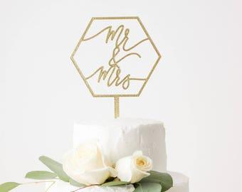 Mr & Mrs Geometric Wedding Cake Topper - Hexagon - Laser Cut Gold Wood or Acrylic