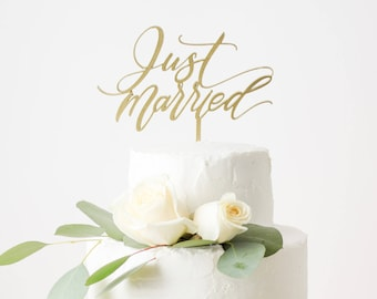 Just Married Cake Topper - Wedding Cake Topper - Laser Cut Wood or Acrylic - Hand Drawn