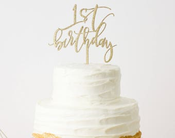 First Birthday Laser Cut Gold Cake Topper - Birthday - hand drawn and made of wood or acrylic