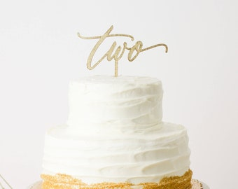 Two Cake Topper Laser Cut Gold Cake Topper - hand drawn and made of wood