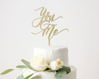 You & Me Laser Cut Gold Wedding Cake Topper - hand drawn and made of wood or acrylic
