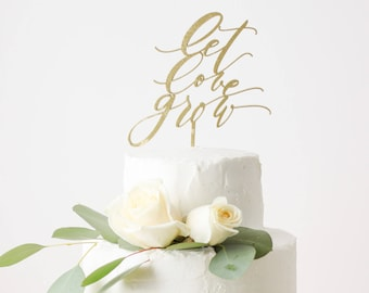 Let Love Grow Cake Topper - Laser Cut Gold Wedding Cake Topper - hand drawn and made of wood or acrylic