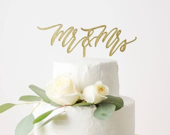 Mr. & Mrs. Cake Topper - Laser Cut Gold Wedding Cake Topper - hand drawn and made of wood or acrylic
