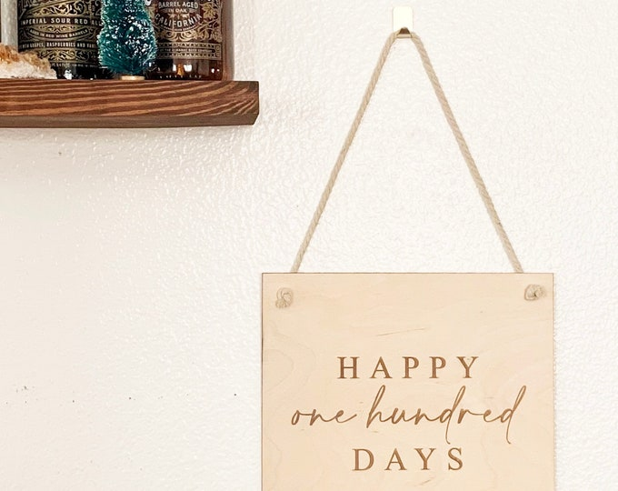 Featured listing image: Happy 100 Days Party Sign - Korean 100 Day Celebration - Laser Engraved Birch Wood Pennant Sign - Free Shipping - Ships Fast