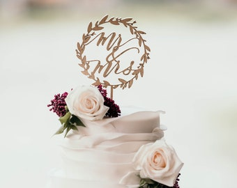 Mr. and Mrs. Wreath Cake Topper -  Laser Cut Gold Wedding Cake Topper - hand drawn and made of wood or acrylic