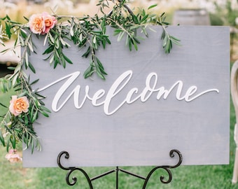 Wedding Welcome Sign - Wooden Welcome Sign - Letterstou - Welcome To Our Wedding Sign - Stained Wooden Sign - Acrylic Wedding Sign