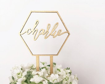 Custom Name Geometric Laser Cut Gold Modern Birthday Cake Topper - hand drawn and made of wood