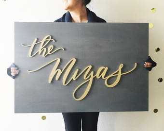 Custom Letterstou Name Wooden Plank Laser Cut Wedding Sign - Hand Lettered 2x3 feet - Family Name Sign - Last Name Sign