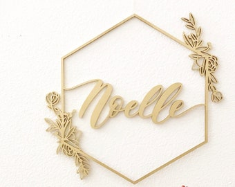"Custom Letterstou Floral Geometric Name Sign 1st Birthday Korean Dol - Laser Cut Wood - Nursery Sign - 16"" Hand Drawn Shipped anywhere"