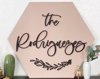 Family Name Hexagon Sign - Painted MDF Wood Sign - Last Name Sign - Home Decor Sign- Wedding Sign - House Warming Gift