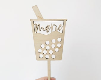 Custom Name Boba Laser Cut Cake Topper  - Birthday Topper - Letters To You - Free Shipping