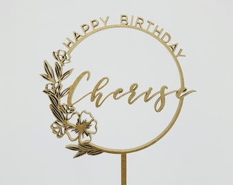 Custom Happy Birthday Floral Ring Laser Cut Cake Topper