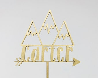 Custom Mountains Arrow Name Cake Topper - Laser Cut - Birthday Decor - Birthday Cake