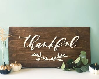 Thankful Wood Plank Sign - Letterstou - Thanksgiving Gift - fall home decor - housewarming gift - Ships anywhere in USA